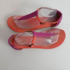 Toms Women's Playa T-Strap Sandals Orange Pink 10W